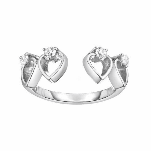 Silver/Rhodium Finish 1.8-6mm Shiny Square Tube Heart Toe Ring