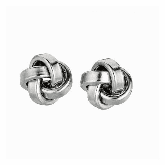 Silver Rhodium Finish 10.0mm Shiny Love Knot Earring - AGE786