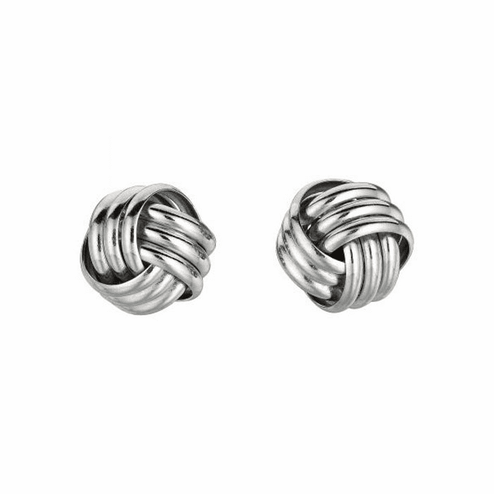 Silver Rhodium Finish 10.0mm Shiny Love Knot Earring - AGS109