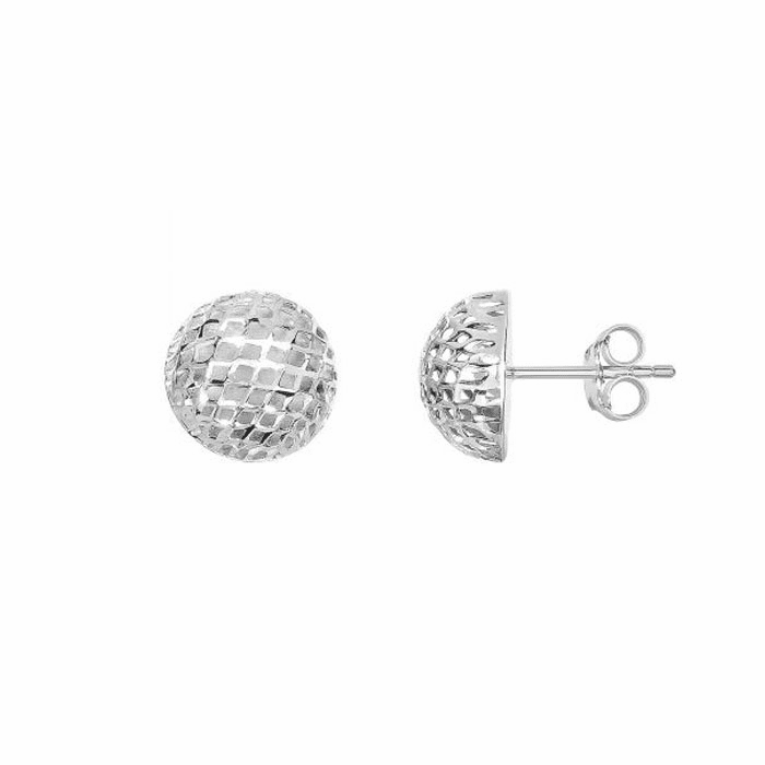 Silver Rhodium Finish 12mm 1+2 Ball Mesh Post Earring