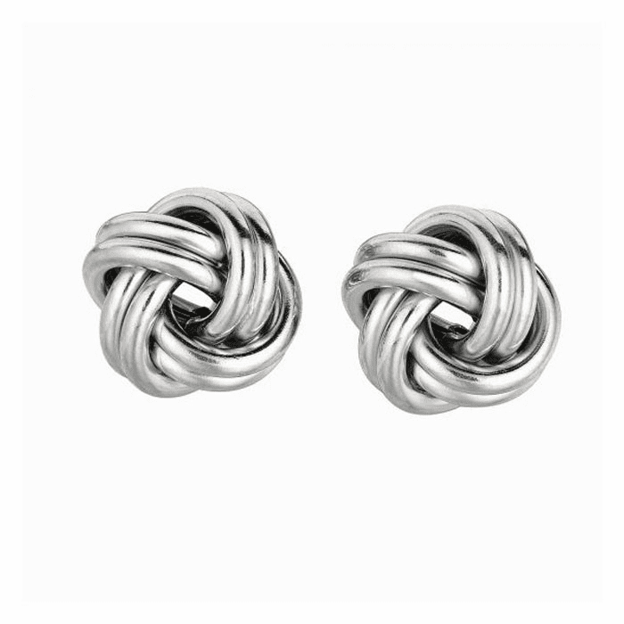 Silver Rhodium Finish 13.0mm Shiny Love Knot Earring