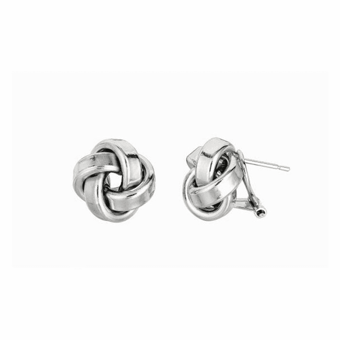 Silver Rhodium Finish 13.0mm Shiny Texturedd Love Knot Earring