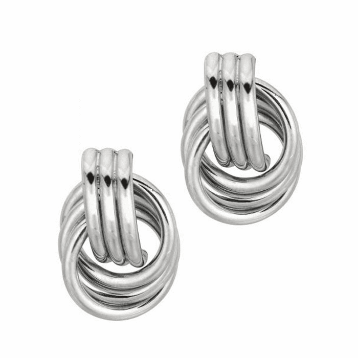 Silver Rhodium Finish 15.0mm Shiny Coil Type Love Knot Earring