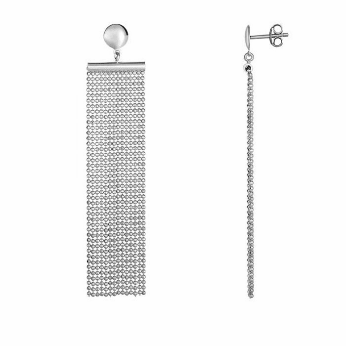 "Silver Rhodium Finish 3"" Multi Stranded Earring With Push Back Clasp"