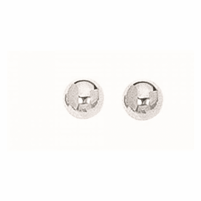 Silver Rhodium Finish 5.0mm Textured Shiny Stud Earring