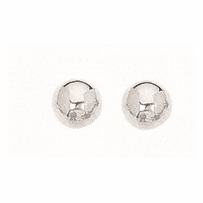 Silver Rhodium Finish 6.0mm Textured Shiny Stud Earring