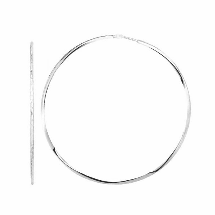 Silver Rhodium Finish 60mm Earring with Endless Clasp
