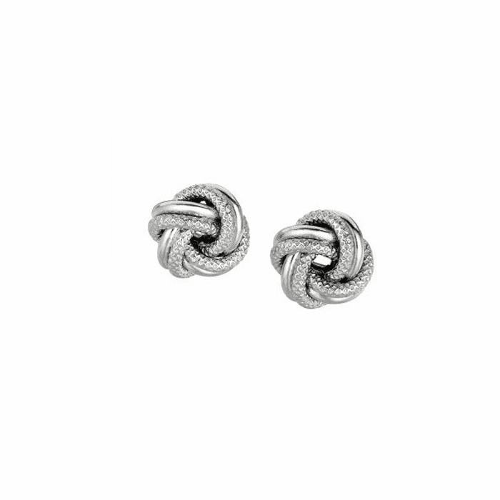 Silver Rhodium Finish 7.0mm Shiny Textured Love Knot Earring