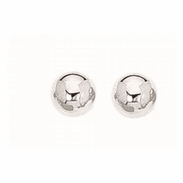 Silver Rhodium Finish 7.0mm Textured Shiny Stud Earring