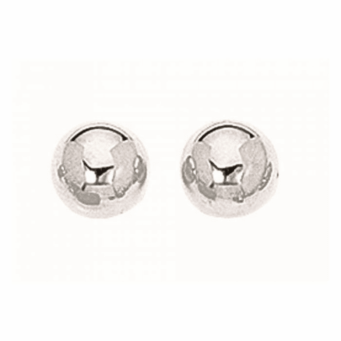 Silver Rhodium Finish 8.0mm Textured Shiny Stud Earring