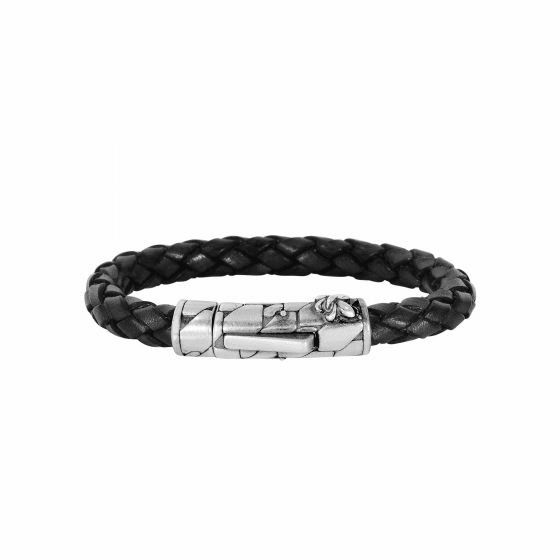 Silver/Rhodium Finish 8mm Textured Woven Black Woven Leather Bracelet