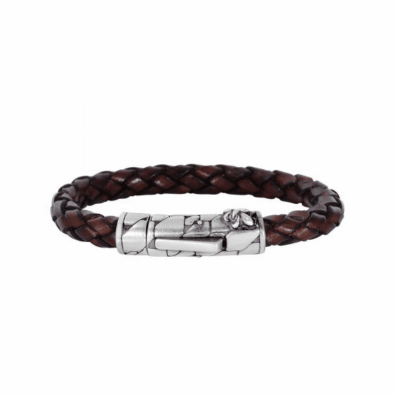 Silver/Rhodium Finish 8mm Textured Woven Brown Woven Leather Bracelet