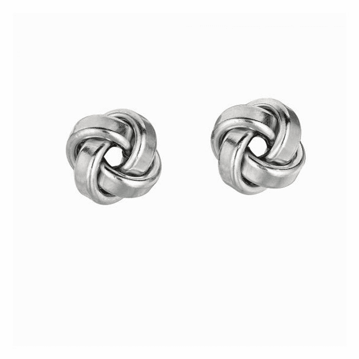 Silver Rhodium Finish 9.0mm Love Knot Earring