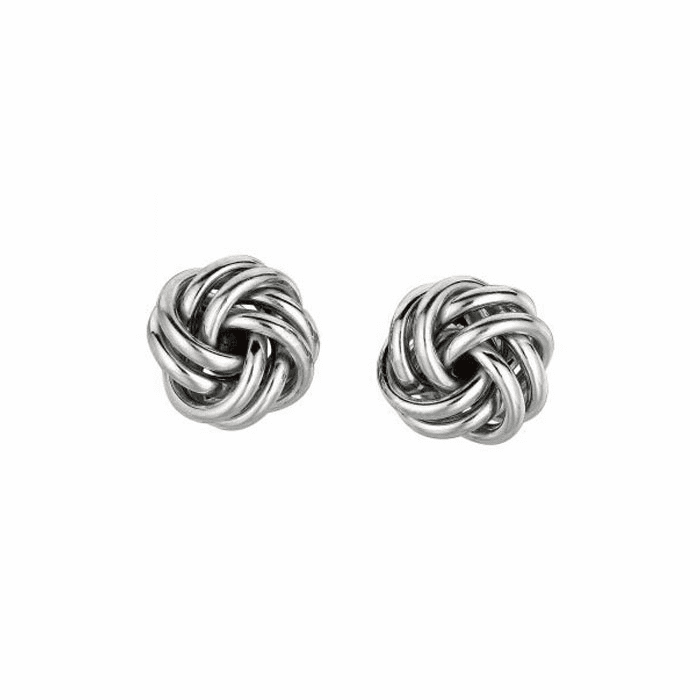 Silver Rhodium Finish 9.0mm Shiny Love Knot Earring