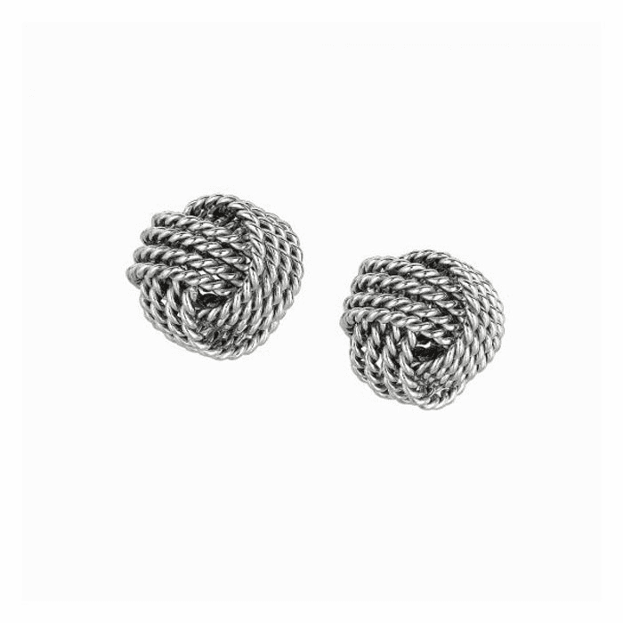 Silver Rhodium Finish 9.0mm Shiny Textured Love Knot Earring