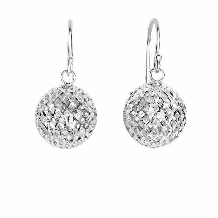 Silver Rhodium Finish Ball Mesh Drop Earring
