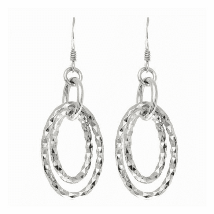 Silver Rhodium Finish Diamond Cut 2 Oval Shape Drop Earring