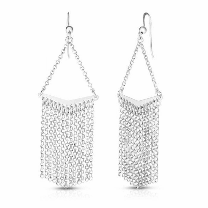 Silver Rhodium Finish Diamond Cut Earring with Euro Wire Clasp