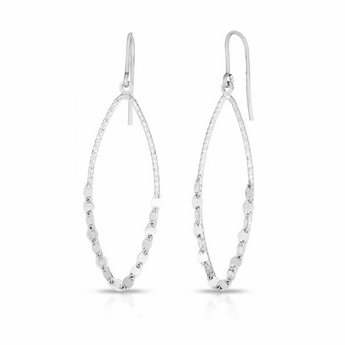 Silver Rhodium Finish Diamond Cut Earring with Hook Clasp - AGER7858