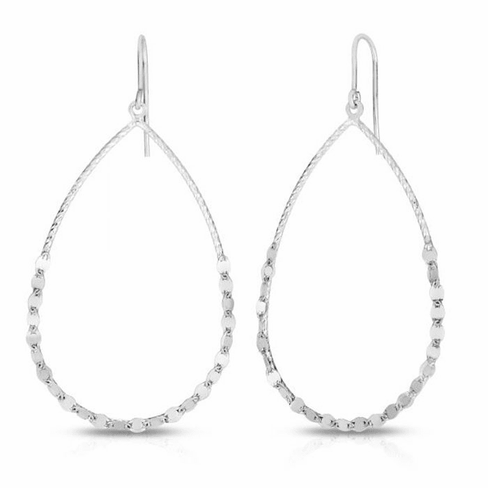 Silver Rhodium Finish Diamond Cut Earring with Hook Clasp - AGER7859