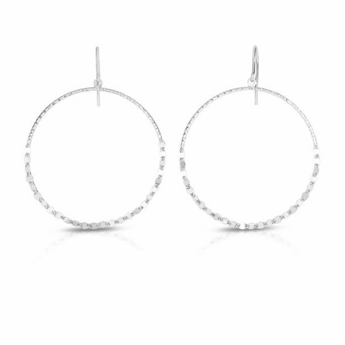 Silver Rhodium Finish Diamond Cut Earring with Hook Clasp - AGER7860