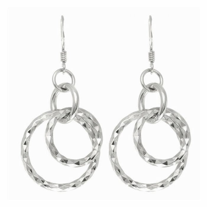 Silver Rhodium Finish Diamond Cut Tube Drop Earring - AGE1801