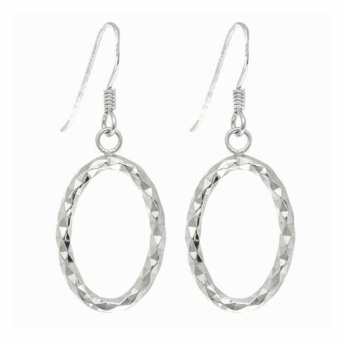 Silver Rhodium Finish Diamond Cut Tube Oval Drop Earring