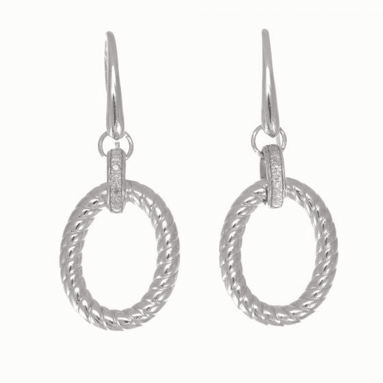 Silver/Rhodium Finish Italian Cable Large Oval Link Drop Earrings