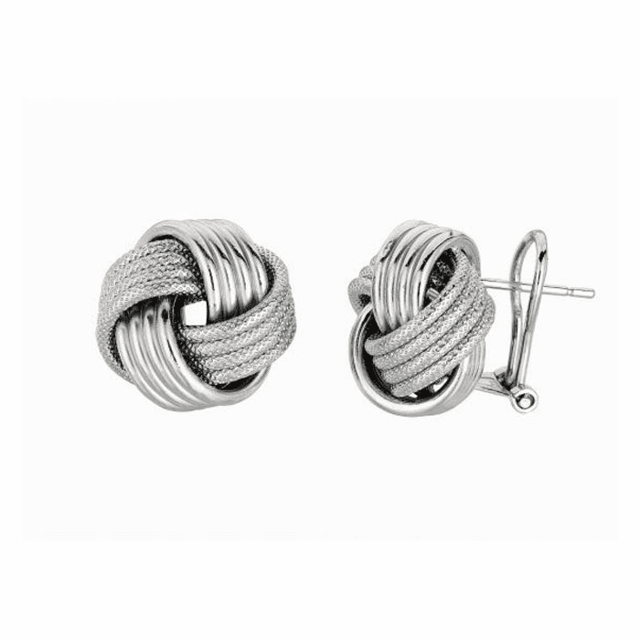 Silver Rhodium Finish Shiny 14.0mm Textured Love Knot Earring