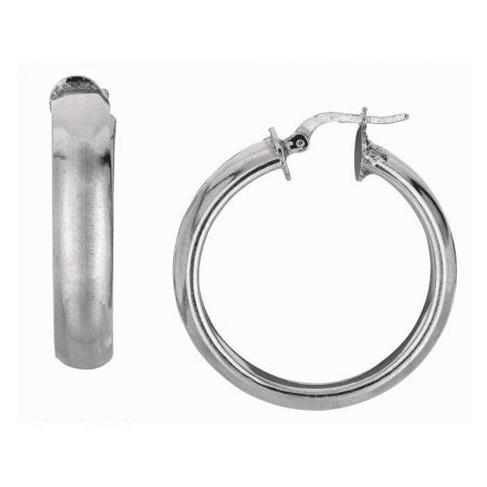 Silver / Rhodium Finish Shiny 6.0X25mm Hoop Earring with Hinged Clasp