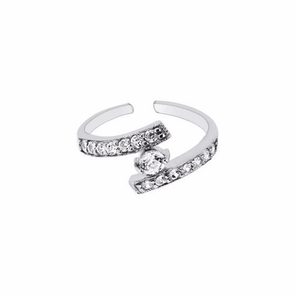Silver/Rhodium Finish Shiny By Pass/Cuff Type Toe Ring with White CZ