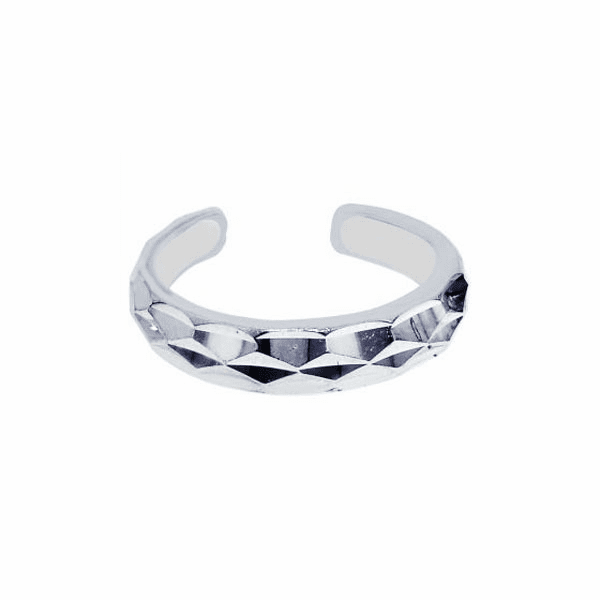 Silver/Rhodium Finish Shiny Cuff Like Toe Ring with Triangle Pattern