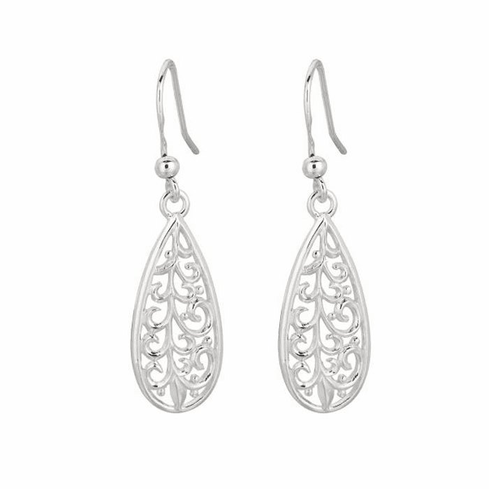 Silver Rhodium Finish Shiny Design Tear Drop Earring