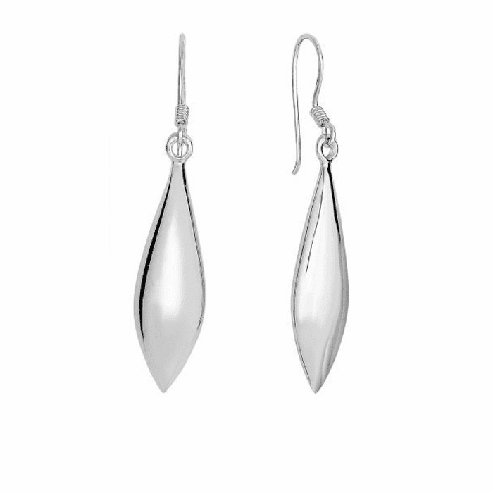 Silver Rhodium Finish Shiny Long Pointy Tear Drop Dangle Earring