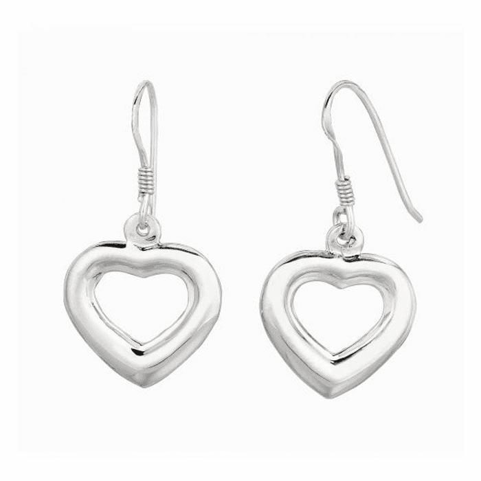 Silver Rhodium Finish Shiny Puffed Open Heart Dangle Earring
