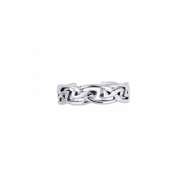 Silver/Rhodium Finish Shiny Textured Cuff Type Toe Ring with Pattern
