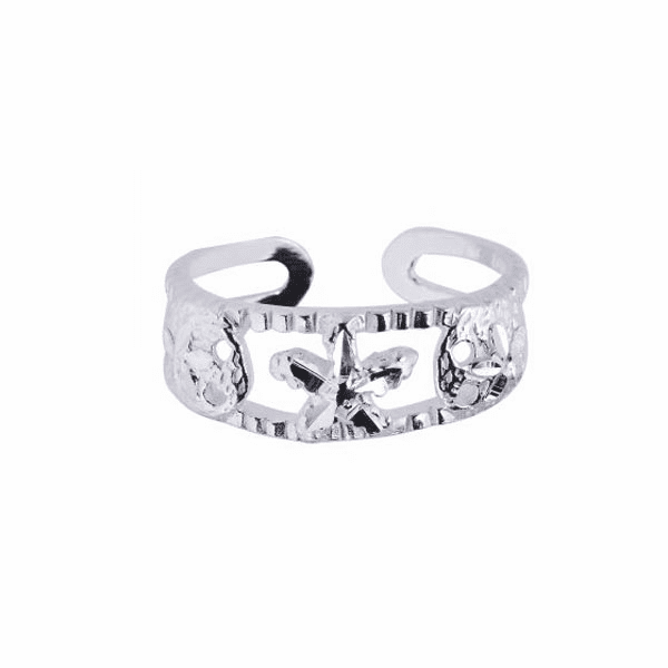 Silver/Rhodium Finish Shiny Textured Cuff Type Toe Ring with Starfish