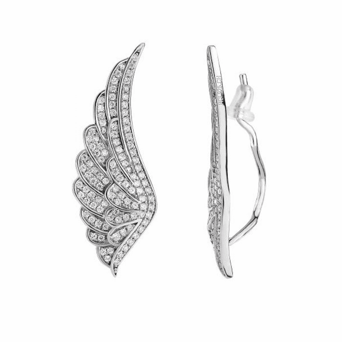 Silver Rhodium Finish Shiny Wing Shape Ear Climber with White CZ