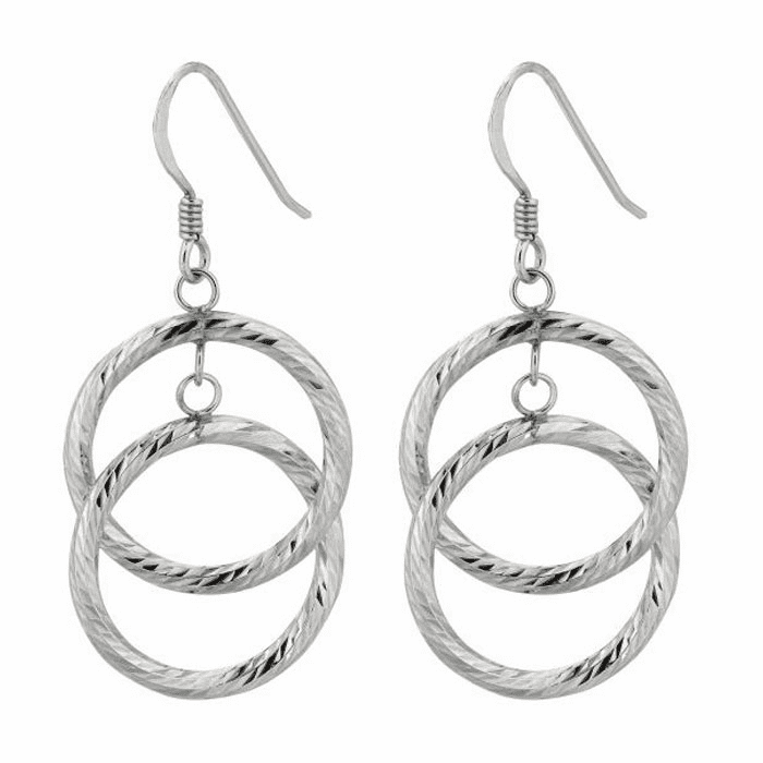 Silver Rhodium Finish Textured Shiny Two Round Open Ring Drop Earring