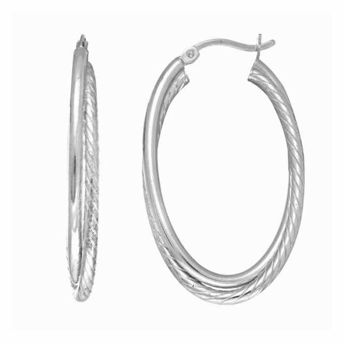 Silver Rhodium Finish Tube Hoop Earring with Hinged Clasp - AGE1772