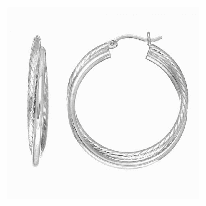 Silver Rhodium Finish Tube Hoop Earring with Hinged Clasp - AGE1773