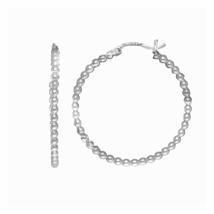 Silver Rhodium Finish Tube Hoop Earring with Hinged Clasp - AGE1779