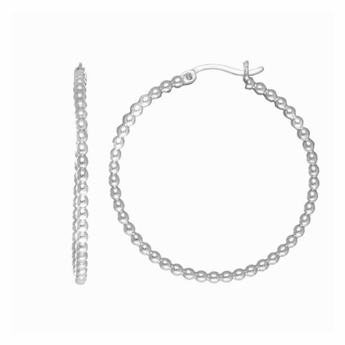 Silver Rhodium Finish Tube Hoop Earring with Hinged Clasp - AGE1781