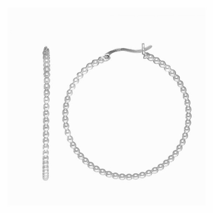 Silver Rhodium Finish Tube Hoop Earring with Hinged Clasp - AGE1782
