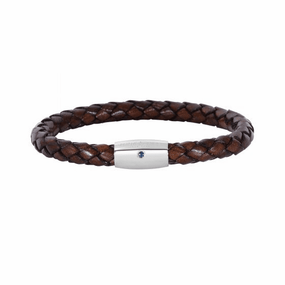 Silver/Rhodium Finish Woven Brown Leather Bracelet & Blue Sapphire