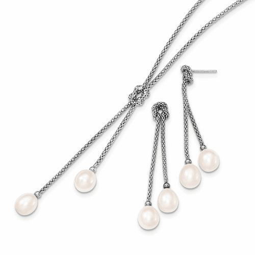 Silver Rhodium Fwc Pearl Knot 18 In. Necklace QH4749SET