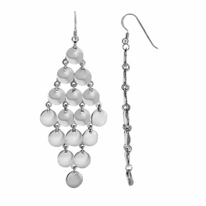 Silver Rhodium Multi Solid Circle Diamond Shape Fancy Drop Earring