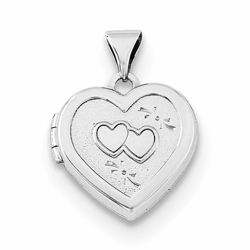 Silver Rhodium-plated 15mm Double Heart On Heart Locket