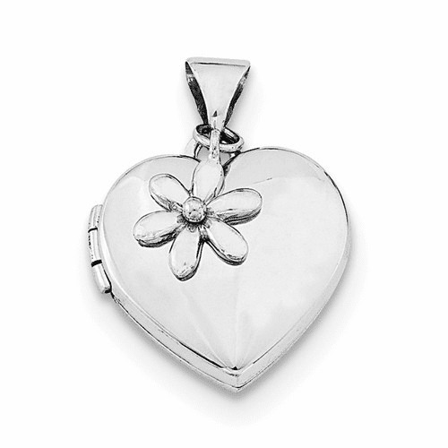 Silver Rhodium-plated 15mm Heart With Flower Dangle Locket