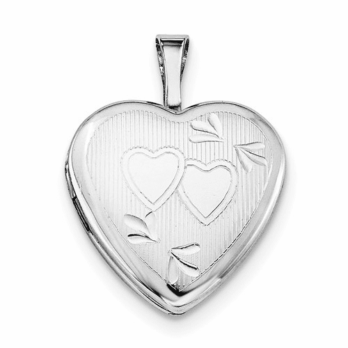 Silver Rhodium-plated 16mm D/c Double Hearts Heart Locket